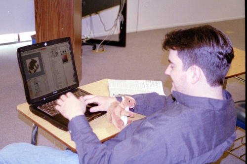 Henry Price works on a Pepperdine OMAET project while we edit the video(s)