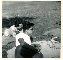 5. 1940s - dad & jerry in the park.