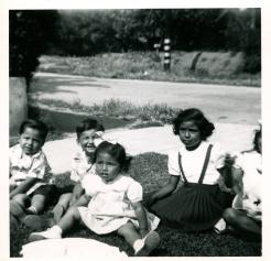 18. 1951 - cousins deedee, debbie, pat, andrew & michael, minus baby kathie