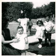 16. 1951 - josie, baby kathie and cousins deedee, pat & andrew.