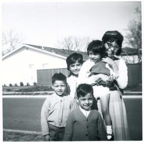9. 1960s - joe, matt, mich, joyce & kathie (wearing john lennon beatle hat).