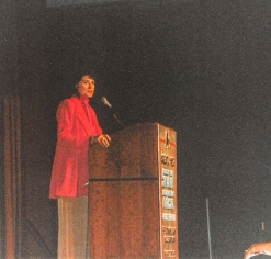 Star Trek TNG cast, Majel Barrett Roddenbury, address the crowd.