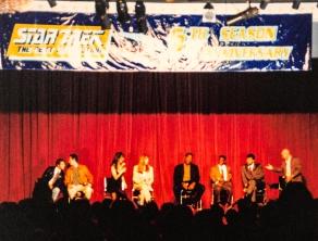 Star Trek: TNG cast panel: Wil Wheaton, Brent Spiner, Marina Sirtis, Gates McFadden, Michael Dorn, LeVar Burton, Jonathan Frakes & Patrick Stewart.