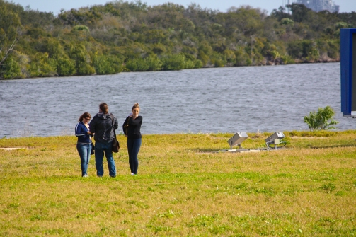 11AM - Social Media friends, Jessika, Chris & Katrina in front of the turning basin