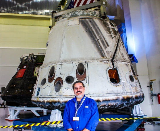 3PM - Standing in front of the Orion (left) and Dragon (right) capsules