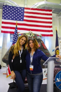 3PM - Katrian Lomidze & Jessika Hallett at the podium in front of the Orion capsule