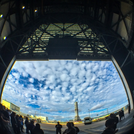3:10PM - Looking out one of the VAB doors at the Mobile Launcher for the SLS