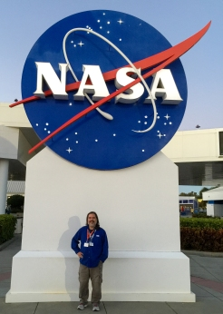 6:15PM - in front of the NASA meatball logo