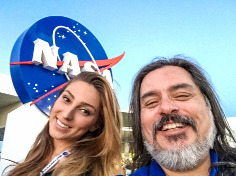 6:15PM - selfie with Katrina Lomidze in front of the NASA logo