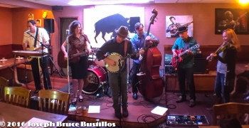 2016-01-08 Oak Hill Drifters at Smiling Bison: Tom Cooper, Rachel Decker, Craig Roy, George Dimitrov, Tim Lancaster, (center) and Jessica Martens (far right) sitting in.