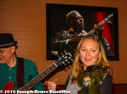 2016-01-08 Oak Hill Drifters at Smiling Bison: George Dimitrov smiling & Jessica Martens