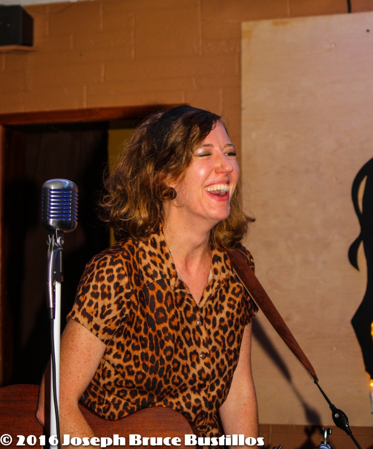 2016-01-08 Oak Hill Drifters at Smiling Bison: Rachel Decker cracking up.