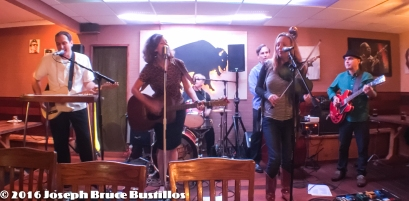 2016-01-08 Oak Hill Drifters at Smiling Bison: Tom Cooper, Rachel Decker, Craig Roy, Jessica Martens, George Dimitrov (l-r) and Tom Pearce on drums.