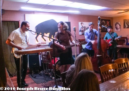 2016-01-08 Oak Hill Drifters at Smiling Bison: Tom Cooper, Rachel Decker, Craig Roy, George Dimitrov (l-r) and Tom Pearce on drums.