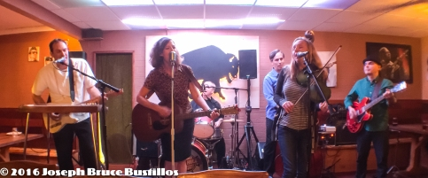 2016-01-08 Oak Hill Drifters at Smiling Bison: Tom Cooper, Rachel Decker, Craig Roy, Jessica Martens, George Dimitrov (l-r) and Tom Pearce on drums.(l-r) and Tom Pearce on drums.