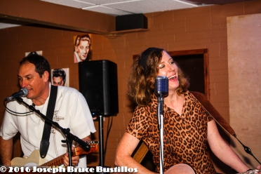 2016-01-08 Oak Hill Drifters at Smiling Bison: Tom Cooper & Rachel Decker happy singing