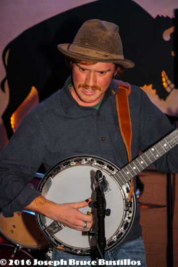 2016-01-08 Oak Hill Drifters at Smiling Bison: Tim Lancaster serious banjo.