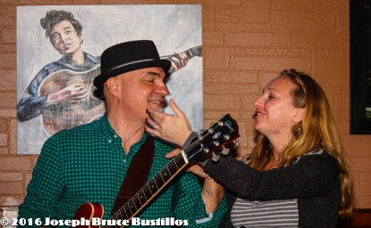 2016-01-08 Oak Hill Drifters at Smiling Bison: George Dimitrov, Jessica Martens tells him he's got something on his chin.